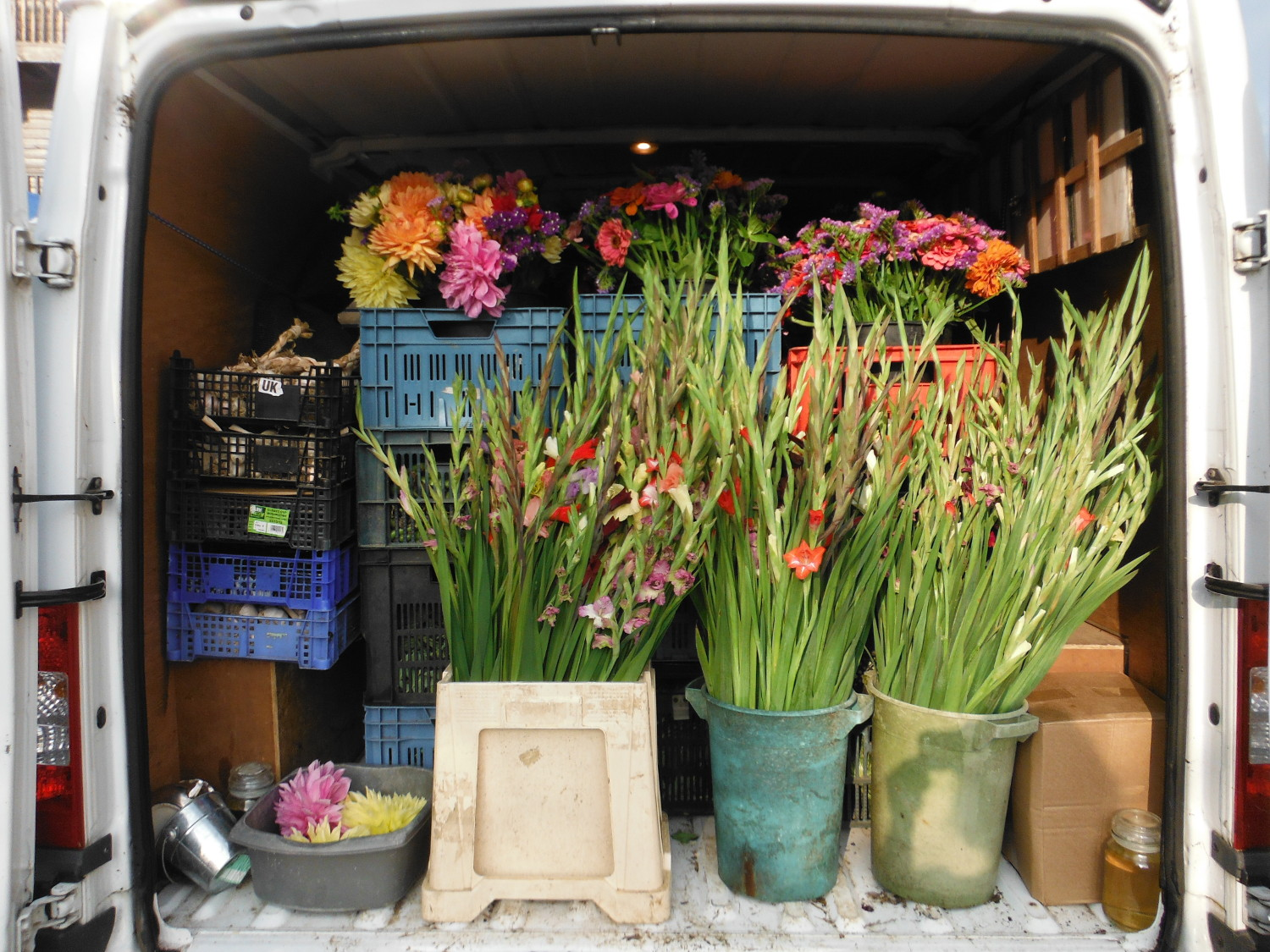 Flowers in the back of the van at farmers market
